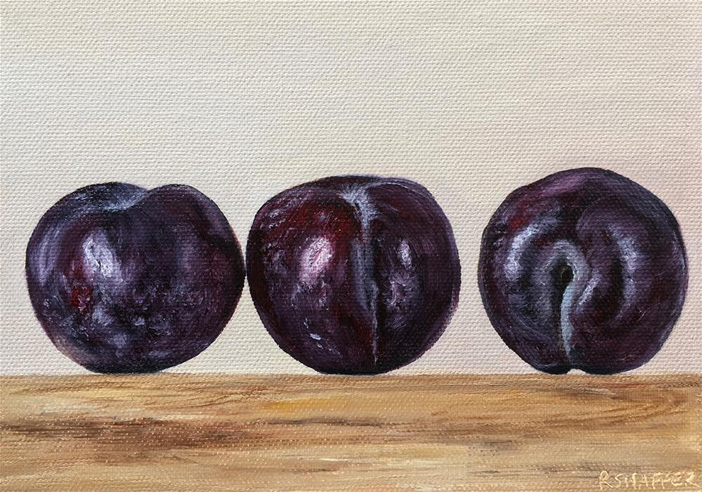 """3 Plums 6/26/19"" original fine art by Renay Shaffer"