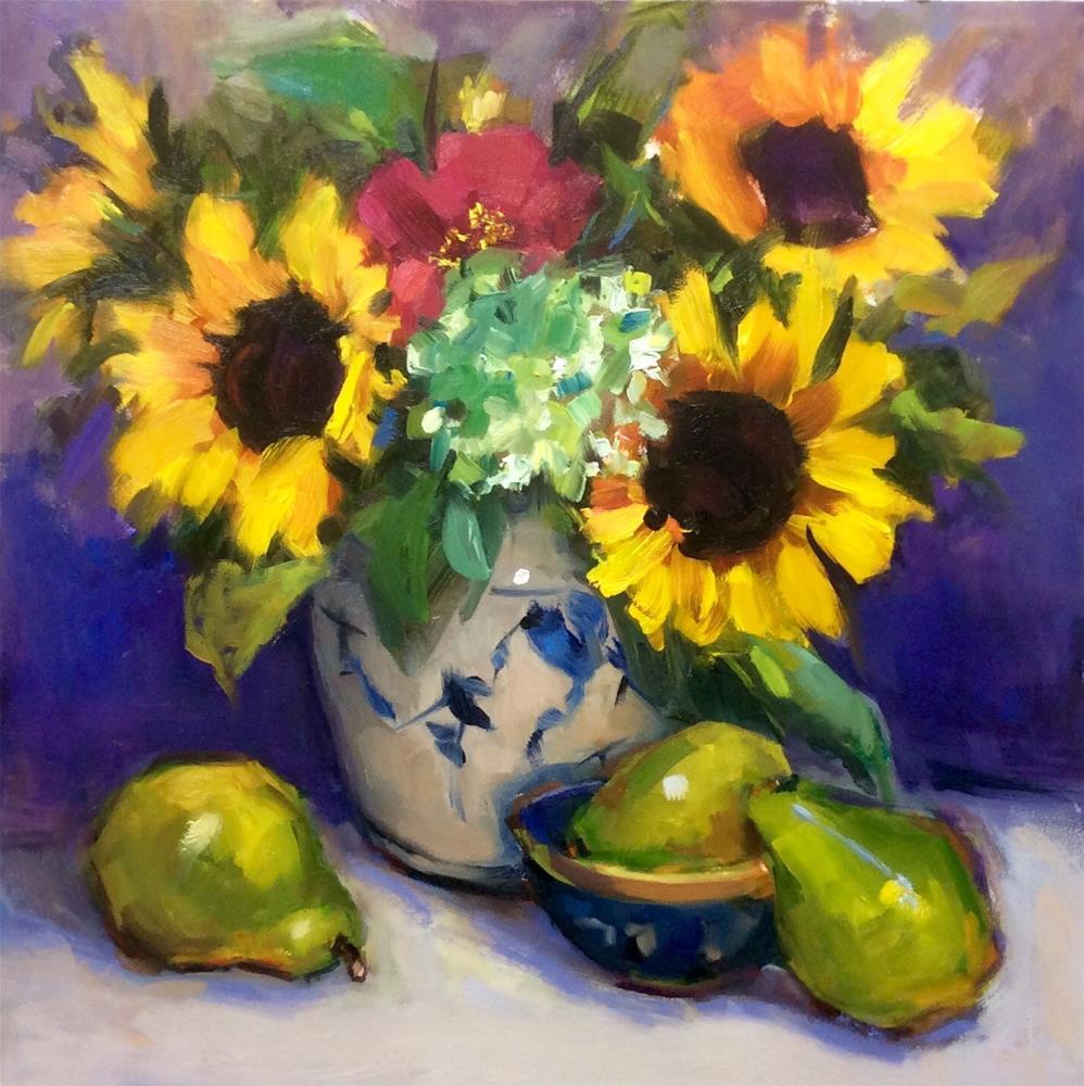 """Loving those Sunflowers"" original fine art by Laurie Johnson Lepkowska"