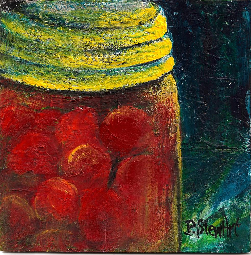 """""""6x6 canning jar Crab Apples Tomatoes Cherries Red Food SFA Penny StewArt"""" original fine art by Penny Lee StewArt"""