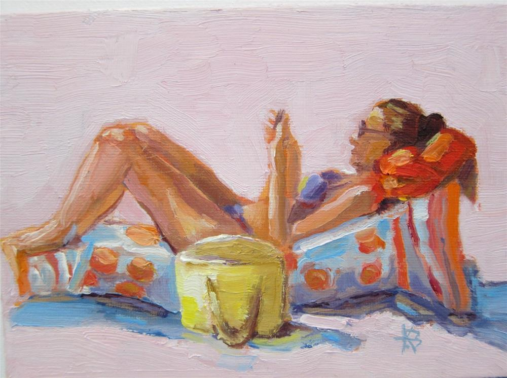 """""""Tanning and Texting"""" original fine art by Kathy Bodamer"""
