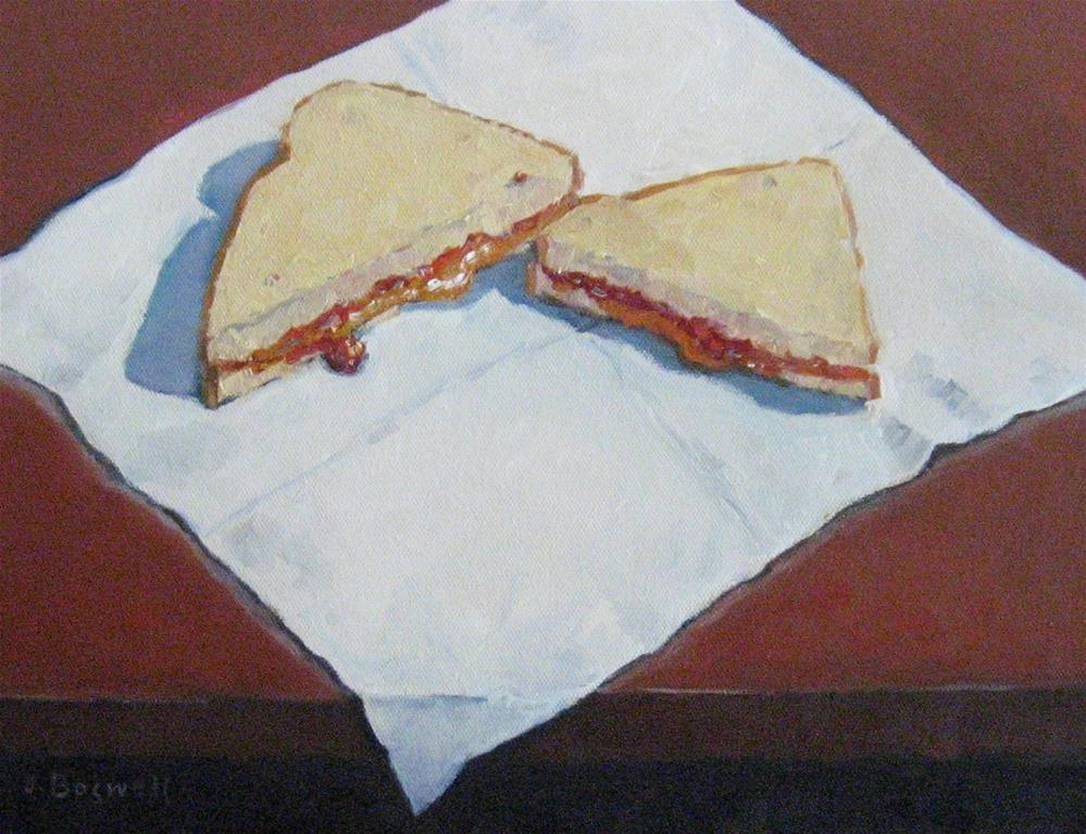 """PB and J on Napkin"" original fine art by Jennifer Boswell"