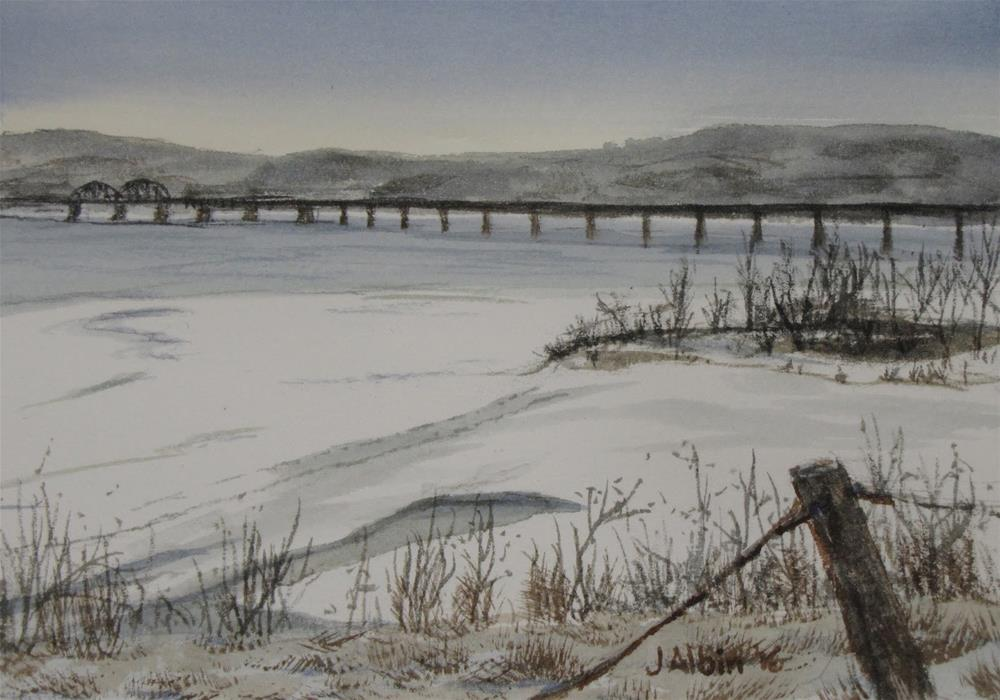 """Crossing the Missouri River in South Dakota"" original fine art by Jane Albin"