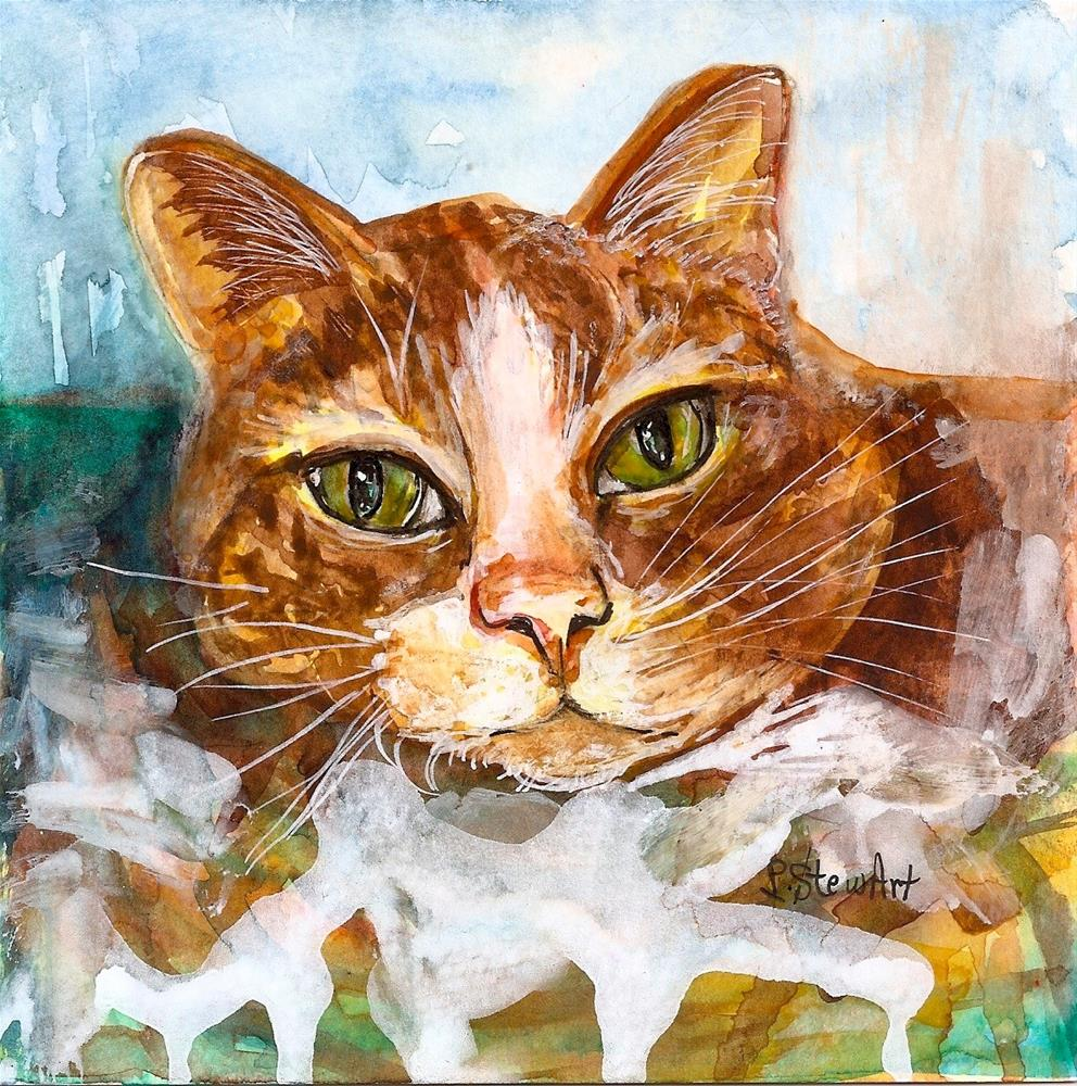 """""""6x6 Orange Tabby Cat Loose Watercolor Style with Pen and Ink Penny StewArt"""" original fine art by Penny Lee StewArt"""