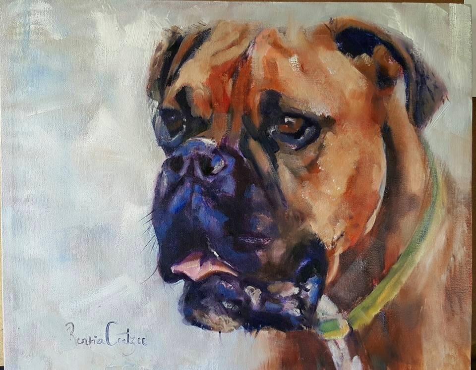 """""""Canine bestie"""" original fine art by Rentia Coetzee"""