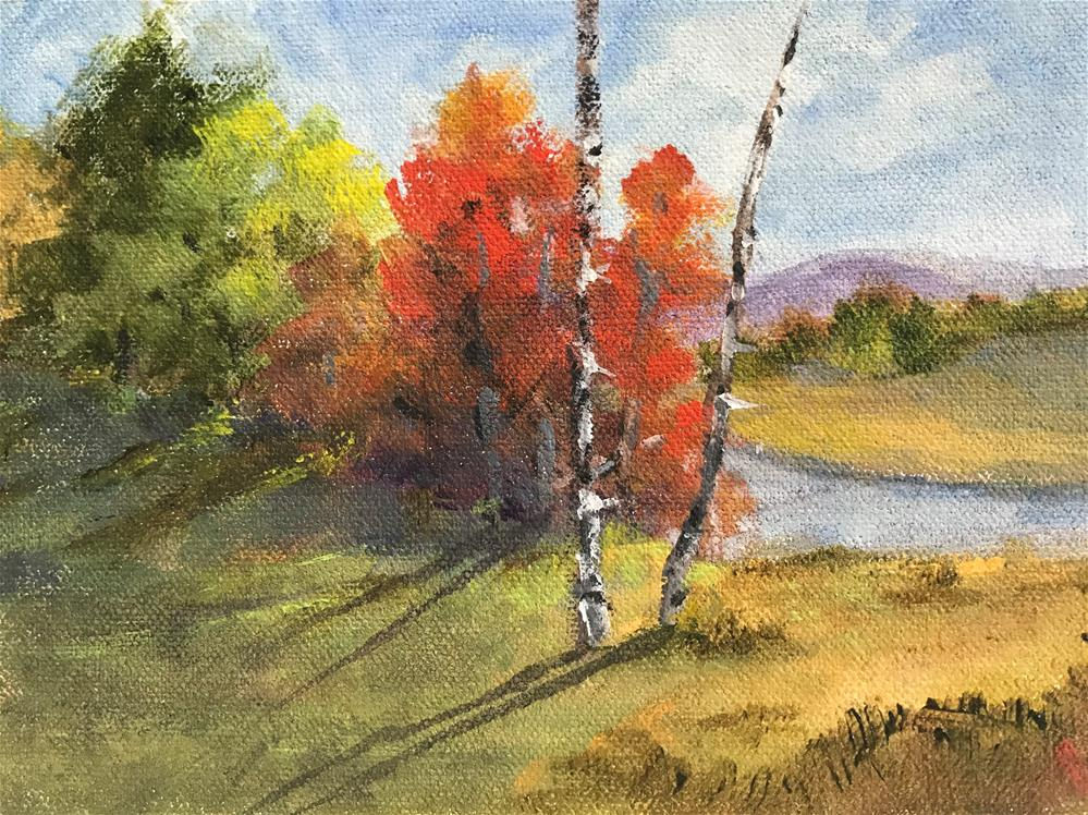"""two birch trees by the bank"" original fine art by Betty Argiros"