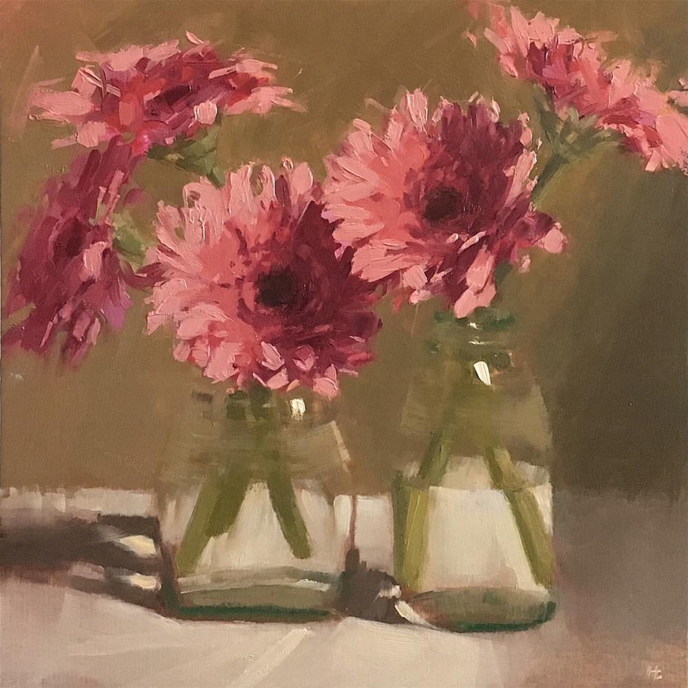 """GERBERAS AND GLASS"" original fine art by Helen Cooper"