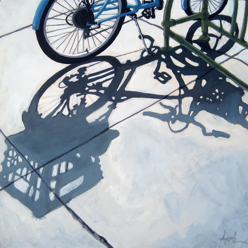"""""""Bicycle Shopping Day Cycling art city scene"""" original fine art by Linda Apple"""