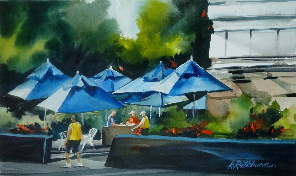 """Insights on Industry - Blue Umbrellas at the Pier"" original fine art by Kathy Los-Rathburn"