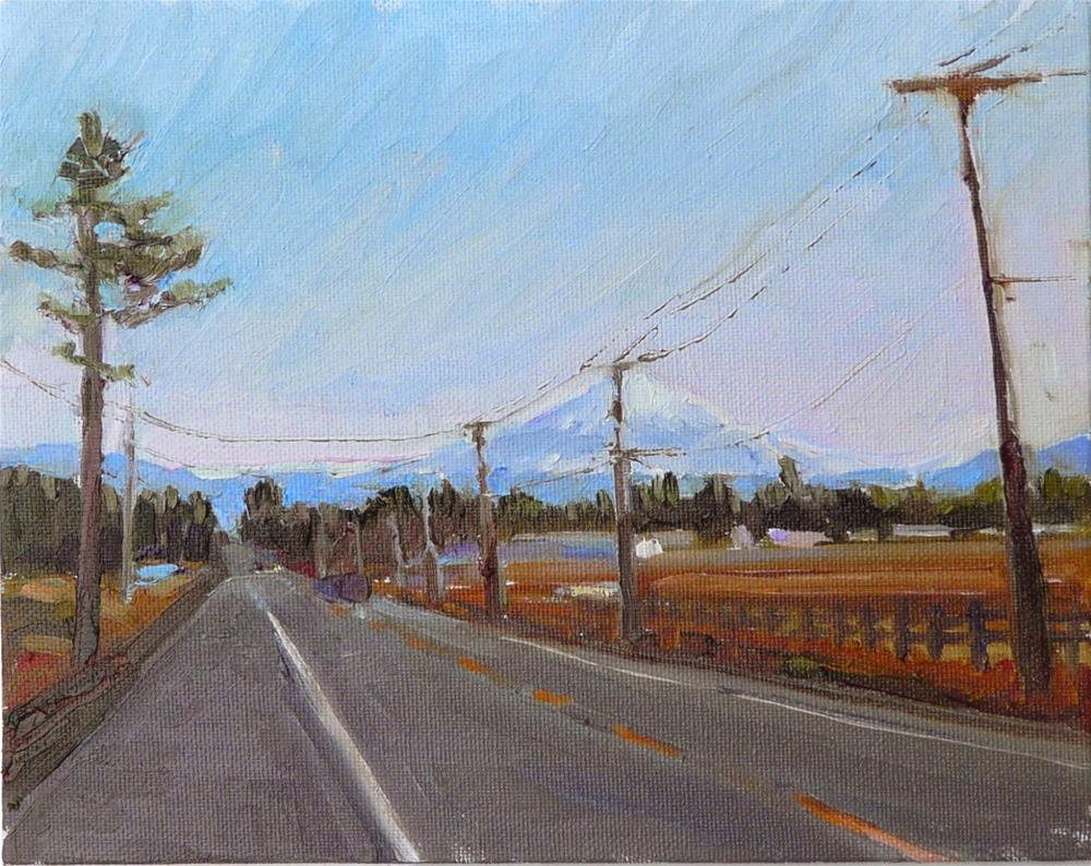 """""""Mt Baker View from County Road,landscape,oil on canvas,8x10,price$300"""" original fine art by Joy Olney"""