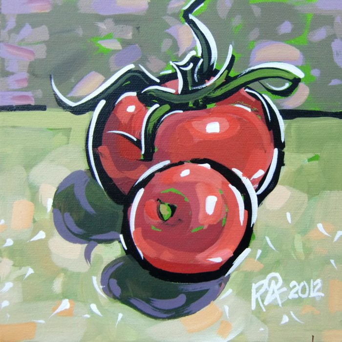 """Tomato taking cover"" original fine art by Roger Akesson"