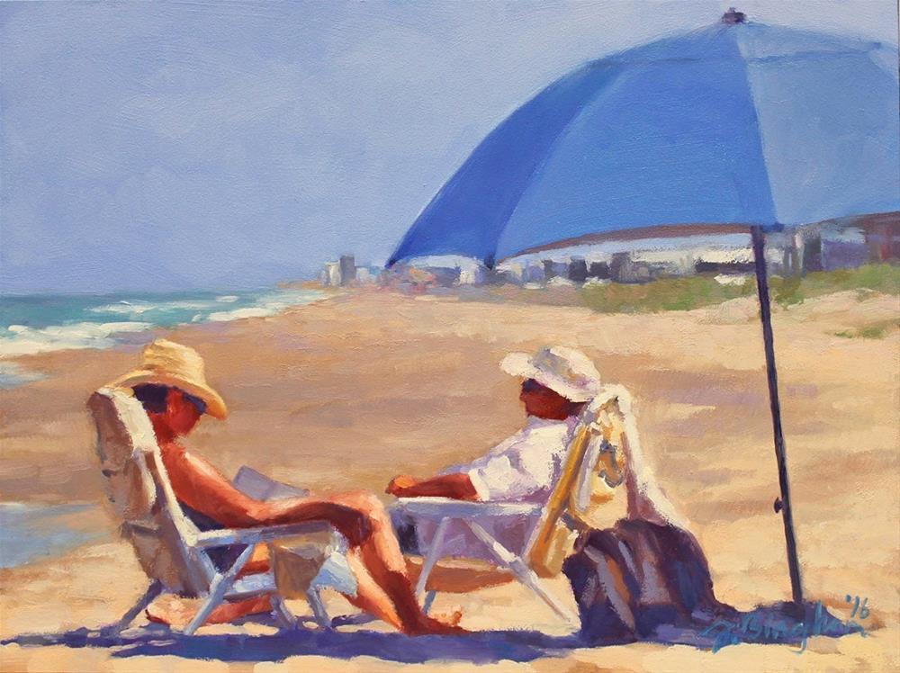 """Beach Couple Series-4"" original fine art by Joanna Bingham"