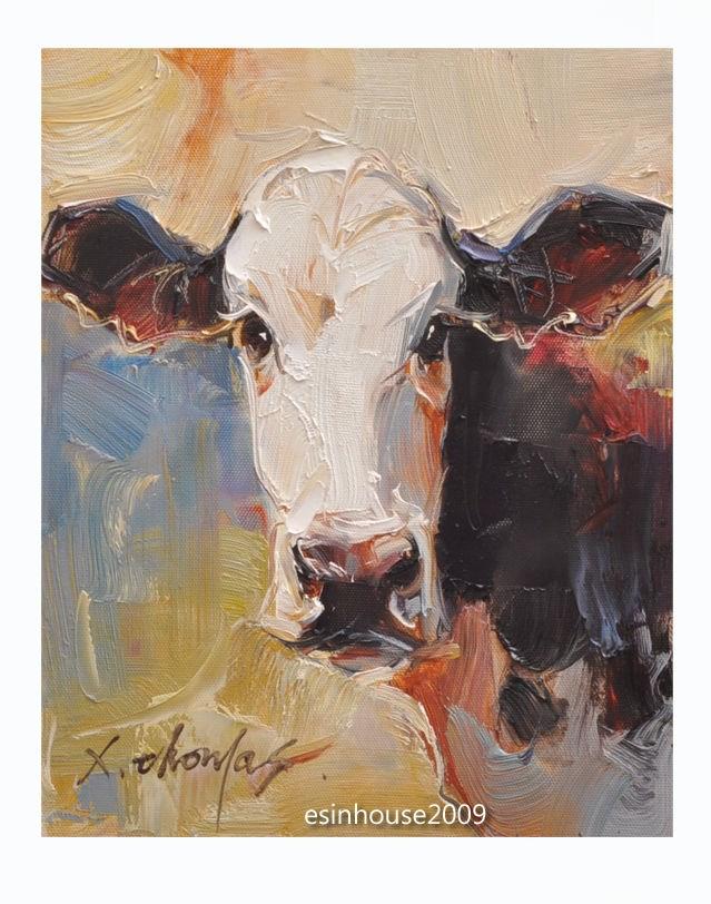 """8X10Animals Oil Painting Cow portrait Herd impressionism art Artwork manuscript"" original fine art by Thomas Xie"