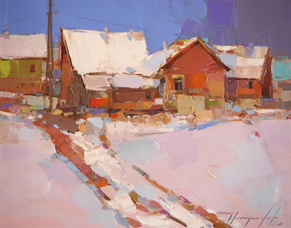 """Winter, Landscape, Oil painting, Original Handmade art, impressionism, One of a kind"" original fine art by V Y"
