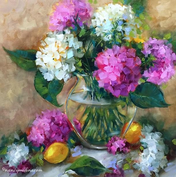 """The Chosen Hydrangeas and How to Make Your Pinks Glow"" original fine art by Nancy Medina"