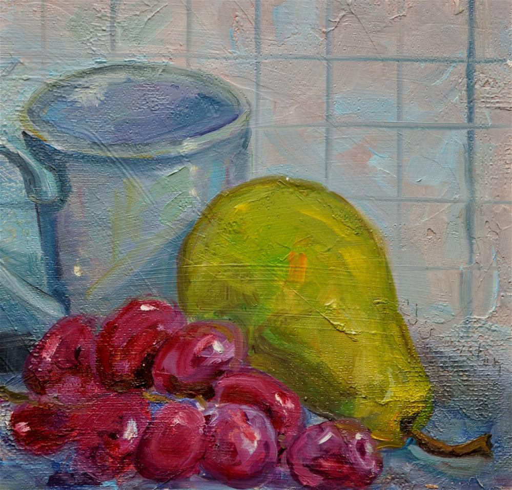 """""""Pear with grapes"""" original fine art by Catherine Crookston"""