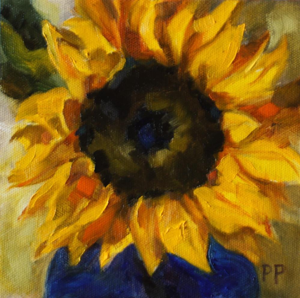"""""""Sunflower in Blue Vase"""" original fine art by Pamela Poll"""
