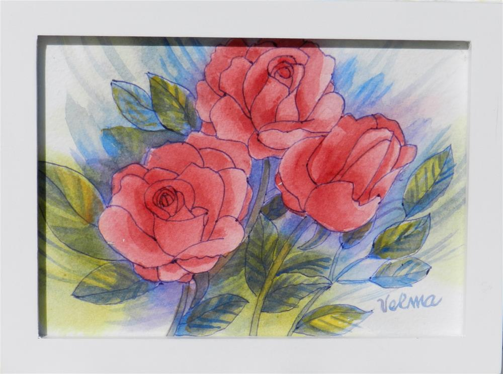 """Pink Roses"" original fine art by Velma Davies"