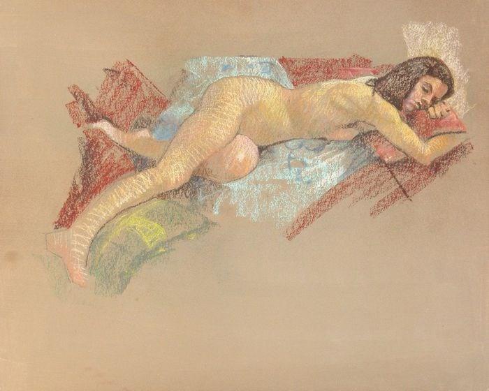 """Figure reclining"" original fine art by Peter Orrock"