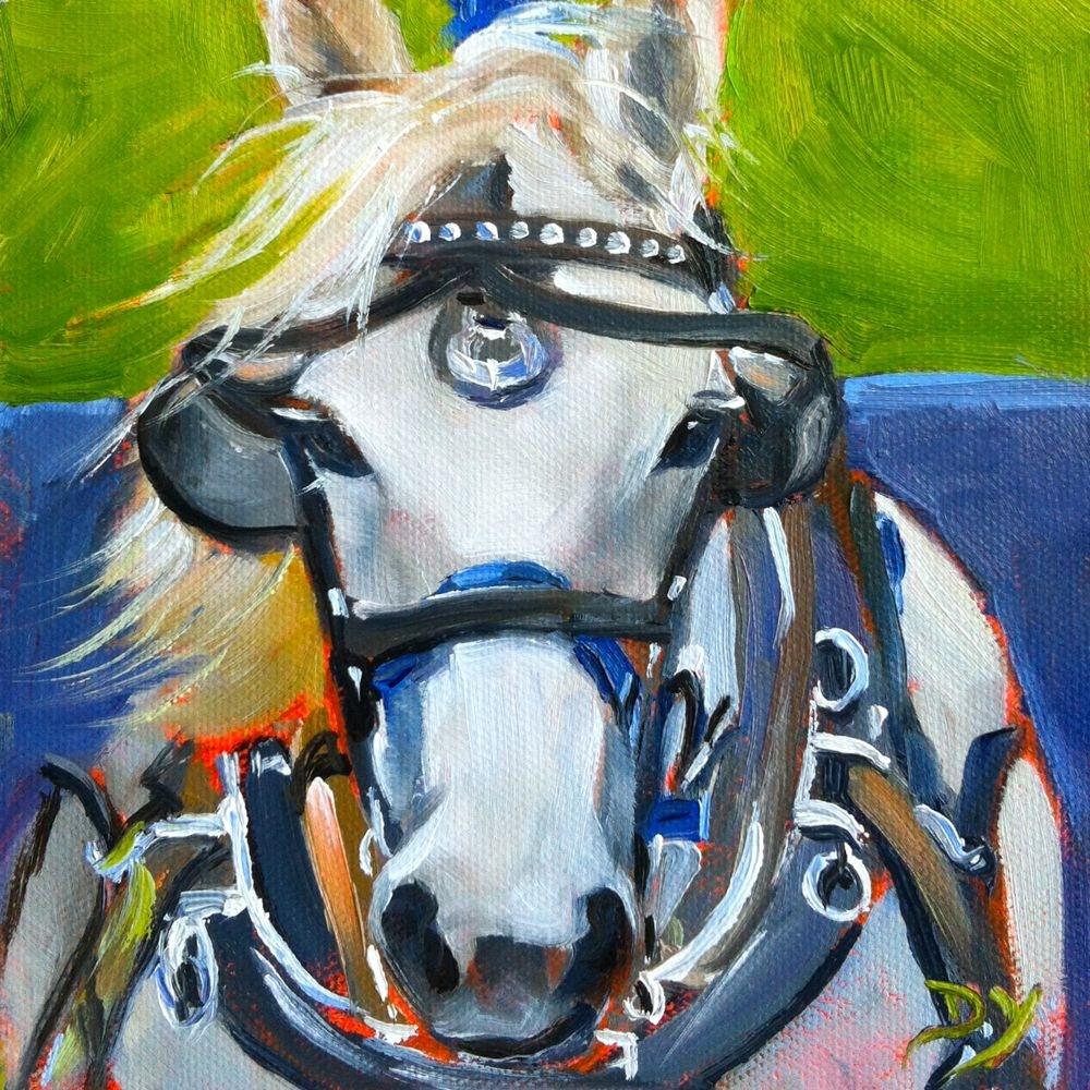 """Sweet Molly, Oil on canvas board, 6x6"" original fine art by Darlene Young"