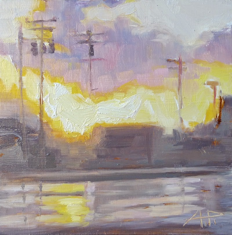 """Staying Late - 6x6 oil on gessoed board"" original fine art by Anette Power"