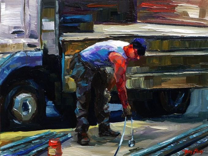 """""""workers 3"""" original fine art by Jurij Frey"""