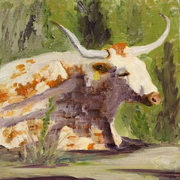 """Resting Longhorn"" original fine art by Jane Frederick"