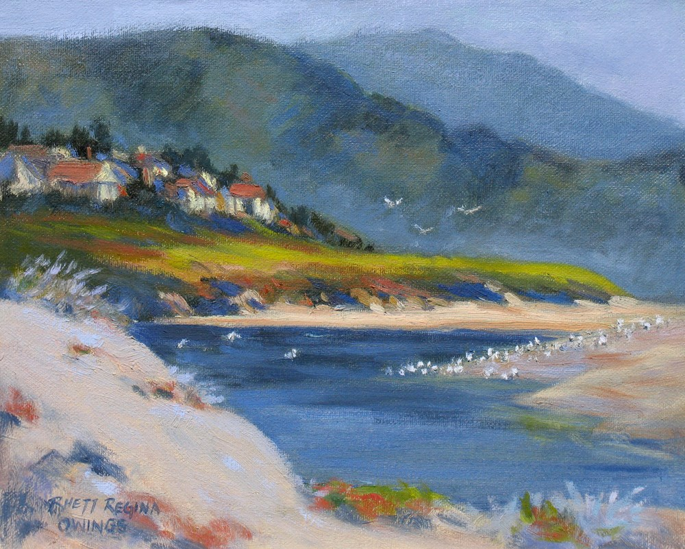 """Carmel River at Dusk"" original fine art by Rhett Regina Owings"
