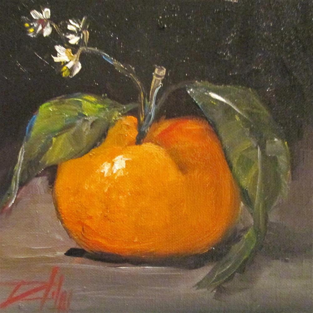 """Tangerine and Flowers"" original fine art by Delilah Smith"