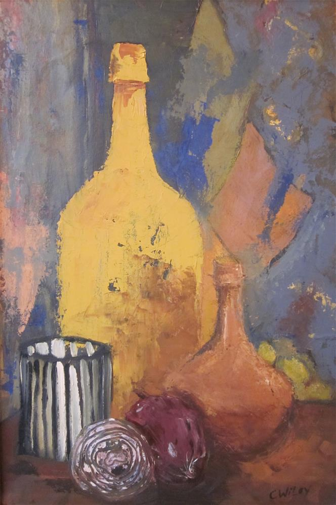 """""""Onions and Painted Bottles"""" original fine art by Carol Wiley"""