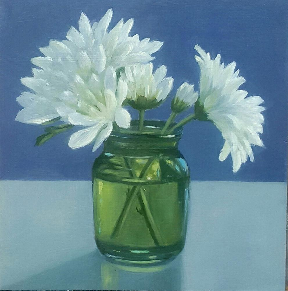 """White Chrysanthemums"" original fine art by Karen Johnston"