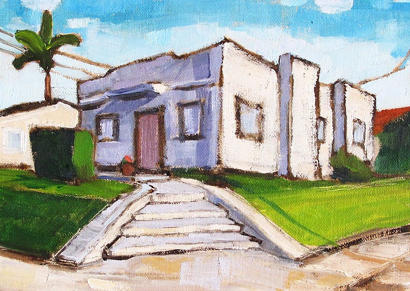 """""""Art Deco House in Hillcrest- San Diego Painting"""" original fine art by Kevin Inman"""