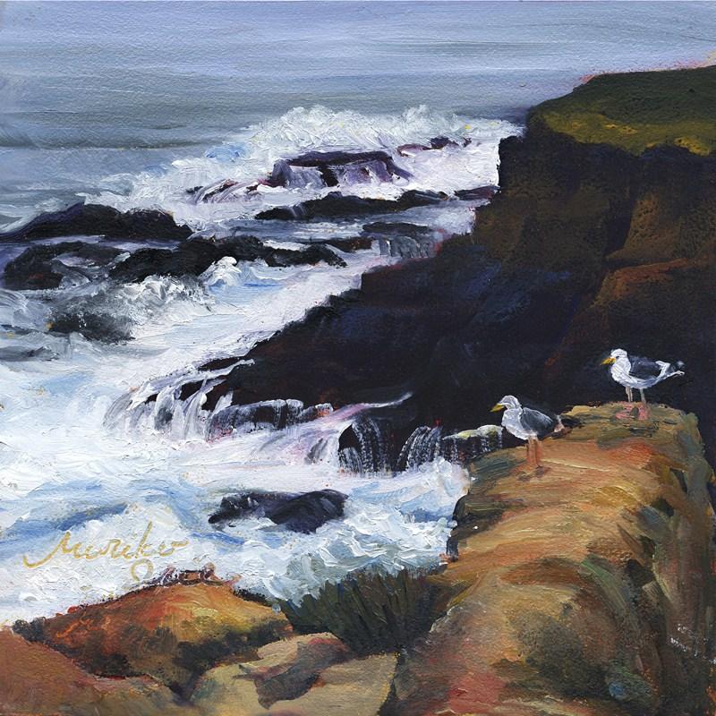 """""""Watching Waves"""" original fine art by Mariko Irie"""
