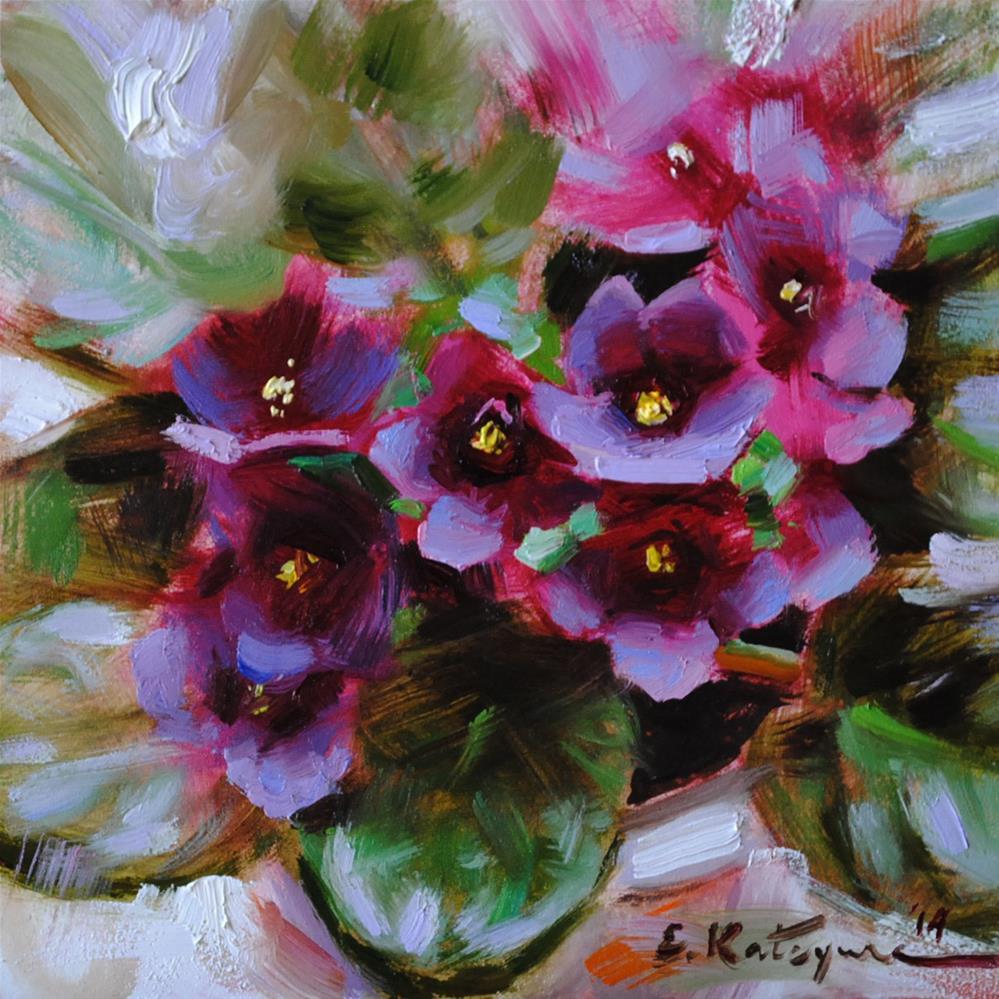 """Purple Violets"" original fine art by Elena Katsyura"