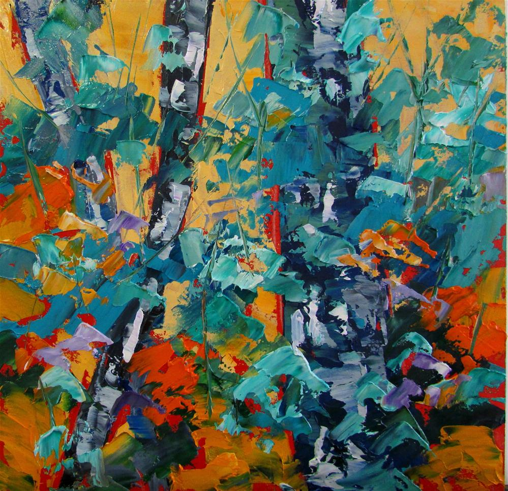 """8 x 8 inch oil Little Birches #6"" original fine art by Linda Yurgensen"