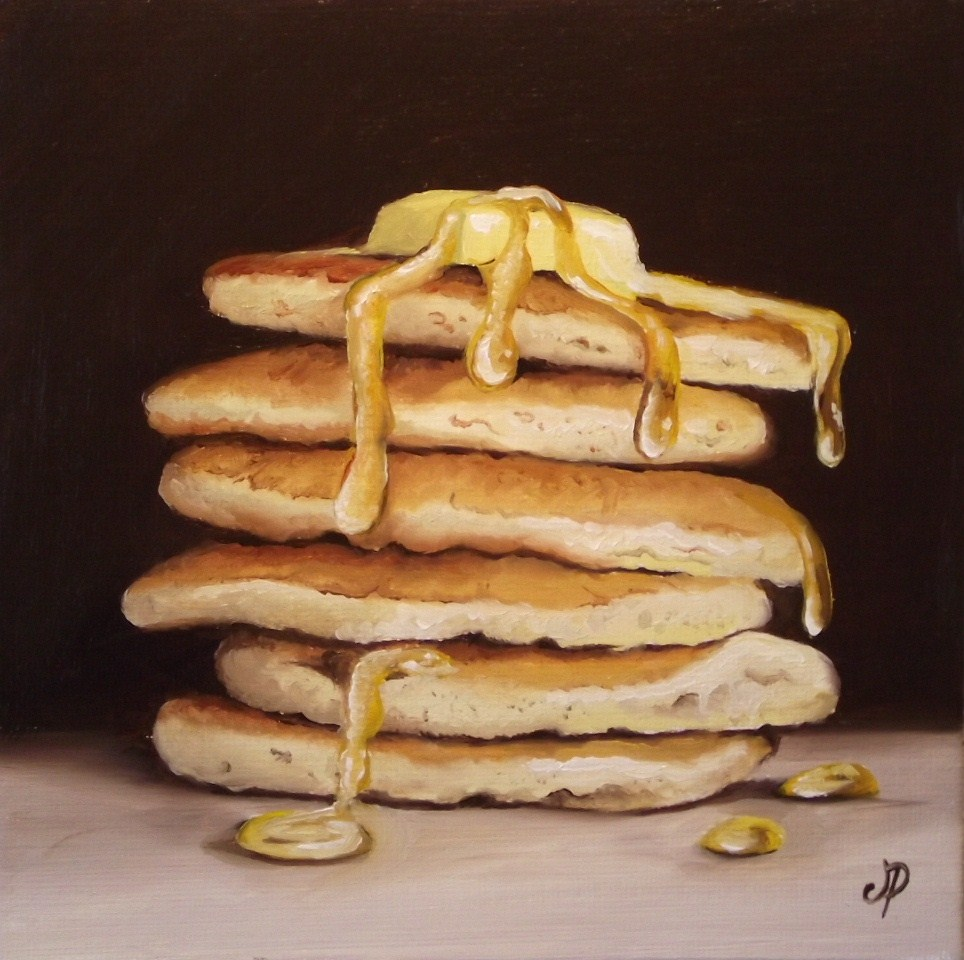 """Pancakes with butter & syrup"" original fine art by Jane Palmer"