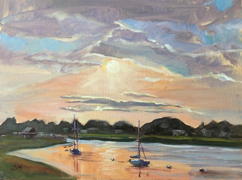 """Sunset at Grass Island Guilford, CT"" original fine art by Linda Marino"