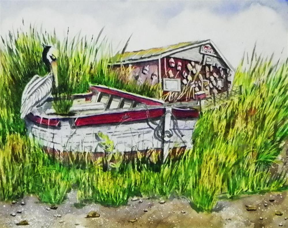 """""""Rowboat in Marsh # 183"""" original fine art by Jim Whiteside"""