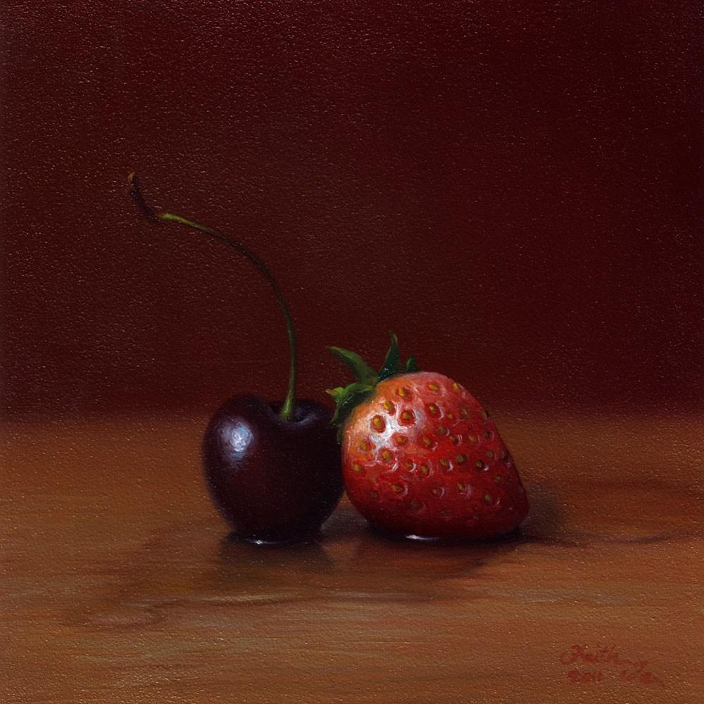 """Cherry and Strawberry"" original fine art by Faith Te"