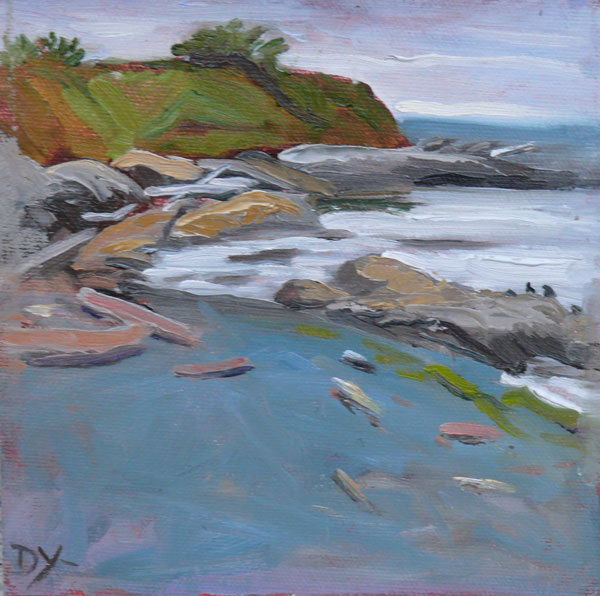 """""""Towards Holland Point, oil on canvas panel, 6x6"""" original fine art by Darlene Young"""