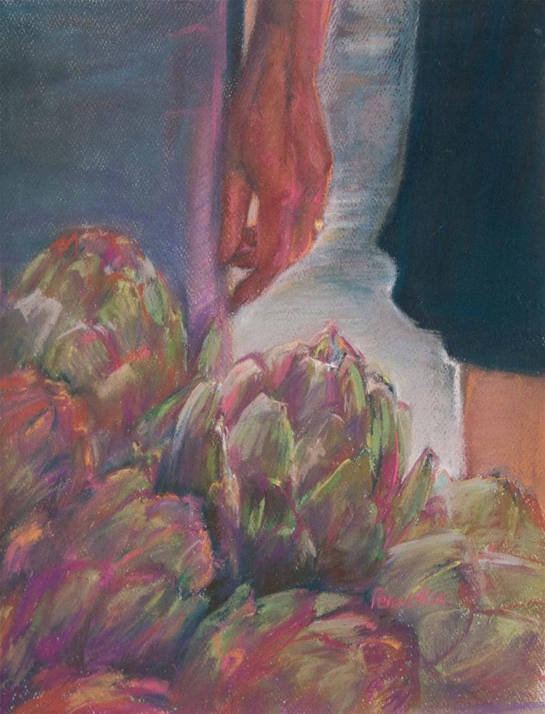 """Artichokes at Portland Farmers Market"" original fine art by Sarah Peroutka"