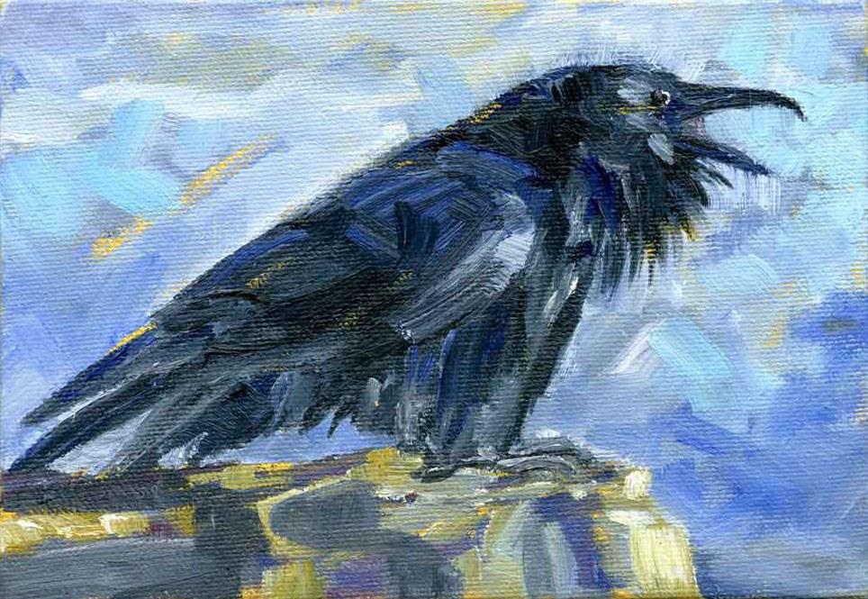 """""""Caw Caw"""" original fine art by Eileen Hennemann"""