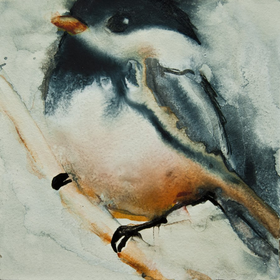"""Watercolor Chickadee"" original fine art by Jani Freimann"