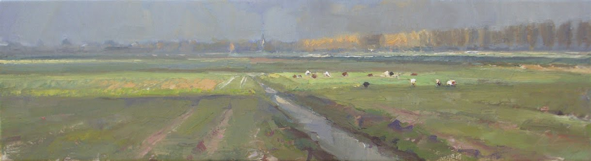 """Hazy day light and shadow and sheep Dutch landscape #13"" original fine art by Roos Schuring"