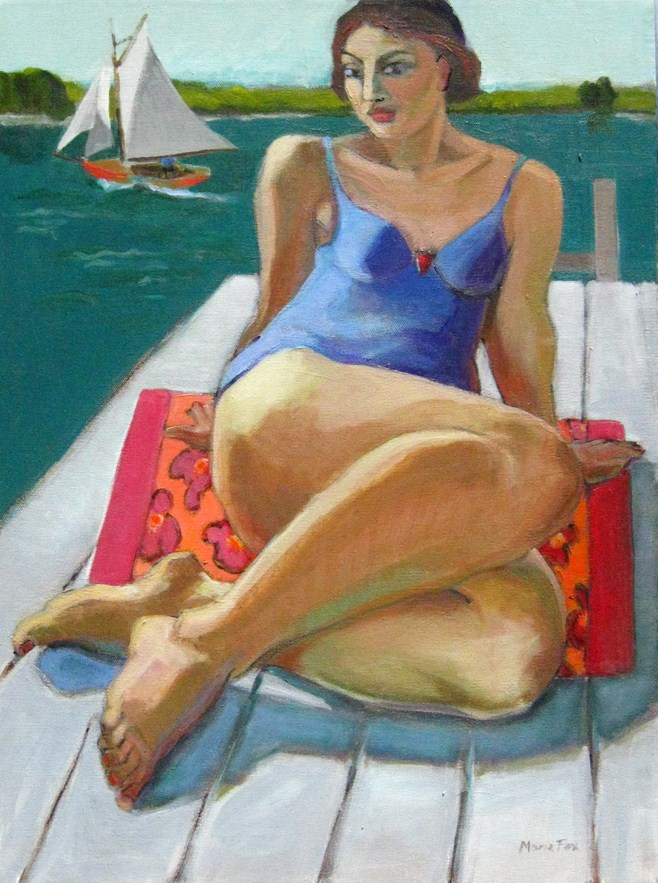 """""""On The Dock, figurative painting, figure in art, contemporary figurative artist, woman, paintings of"""" original fine art by Marie Fox"""