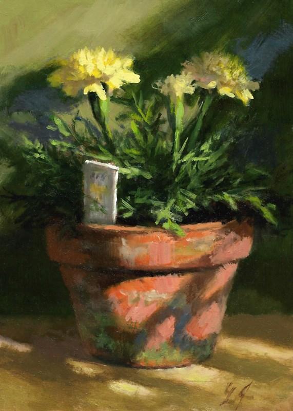 """Marigolds in Morning Light"" original fine art by Linda Jacobus"
