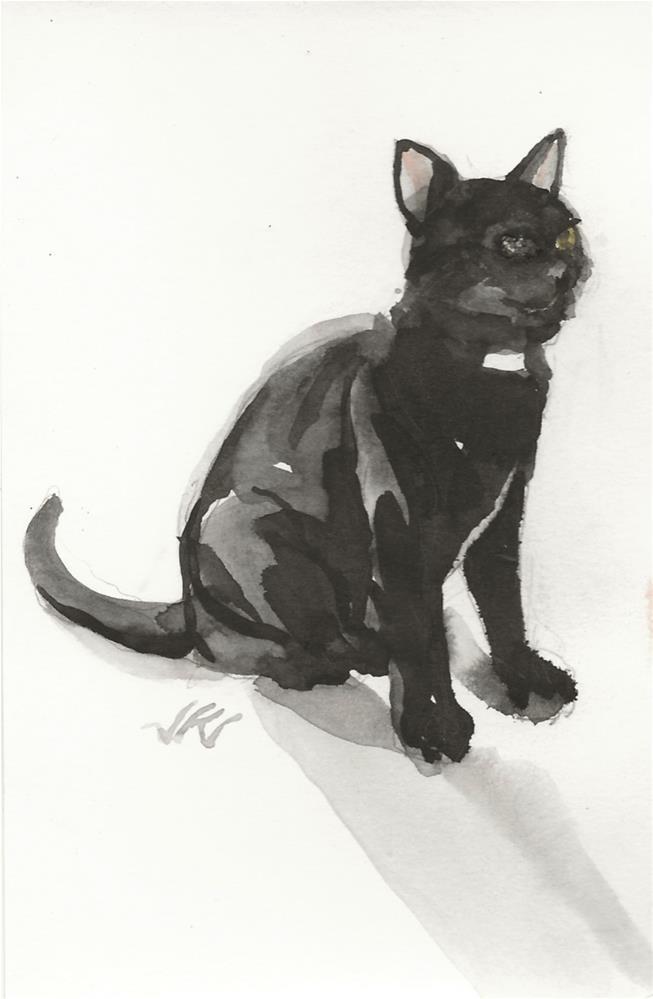 """Daily Cat 80"" original fine art by Jean Krueger"