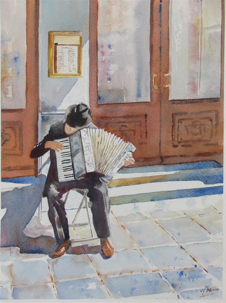 """""""Accordion man"""" original fine art by Yolanda Moreno"""