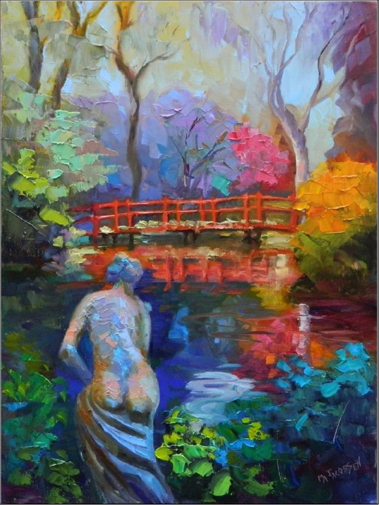 """Red Bridge Statue, Magnolia Plantation, 12x16, oil on linen, paintings of statues, Charleston, Sou"" original fine art by Maryanne Jacobsen"