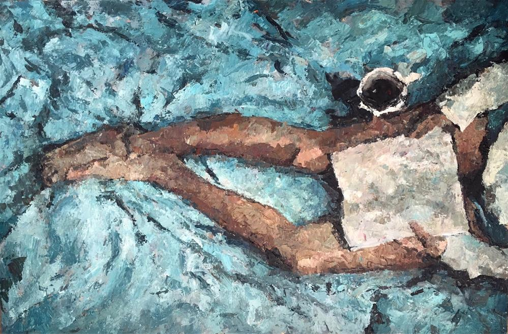 """""""A Good Book and a Cup of Coffee"""" original fine art by Nava Judith"""