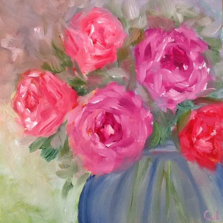 """""""Bouquet of roses"""" original fine art by Conny van Leeuwen"""